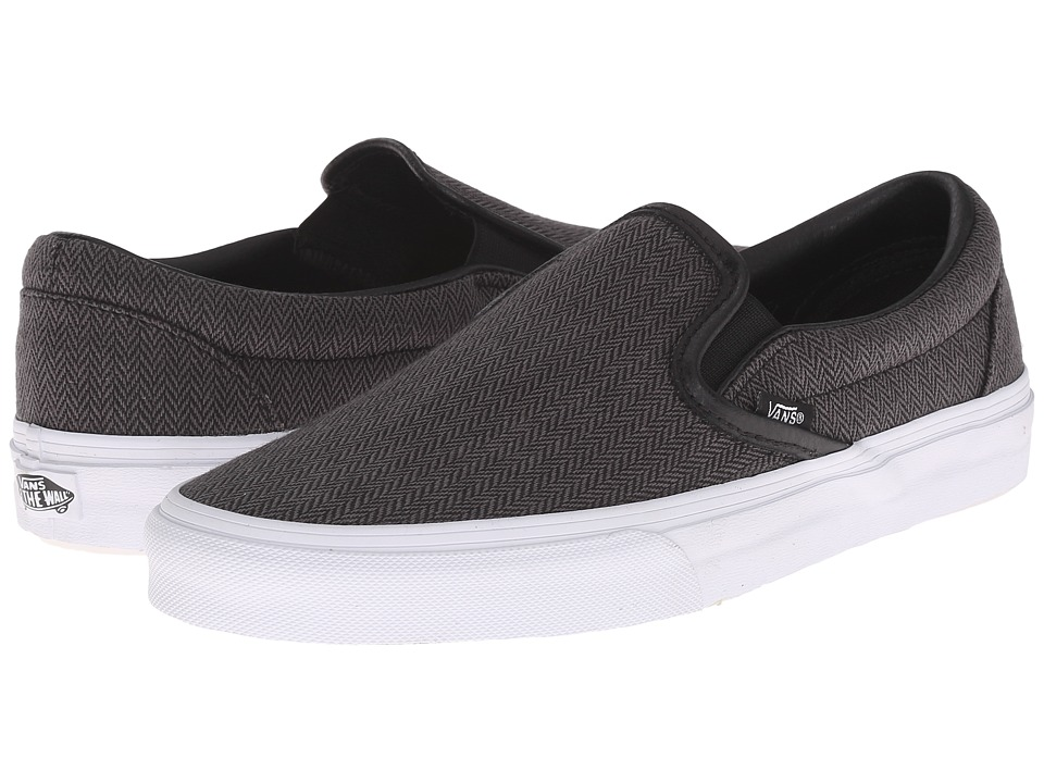 Vans - Classic Slip-On ((Herringbone Tweed) Black/Leather) Skate Shoes