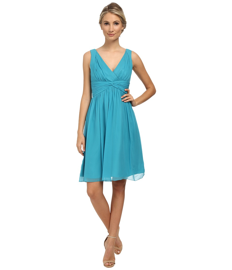 Donna Morgan - Jessie Short Bra Friendly Chiffon (Blue/Green) Women's Dress