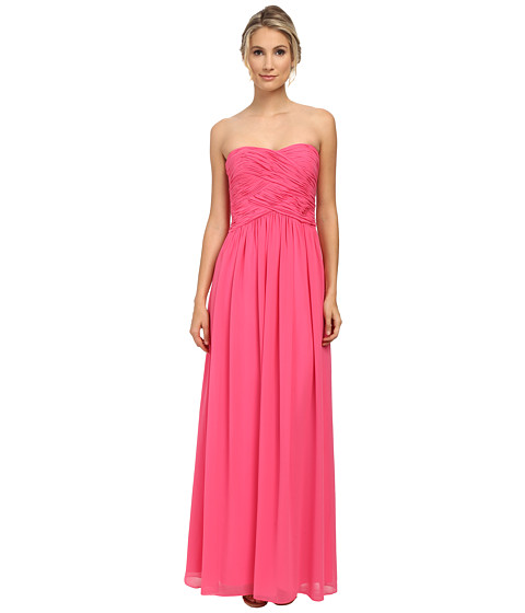 Donna Morgan - Audrey Long Strapless Chiffon (Strawberry) Women