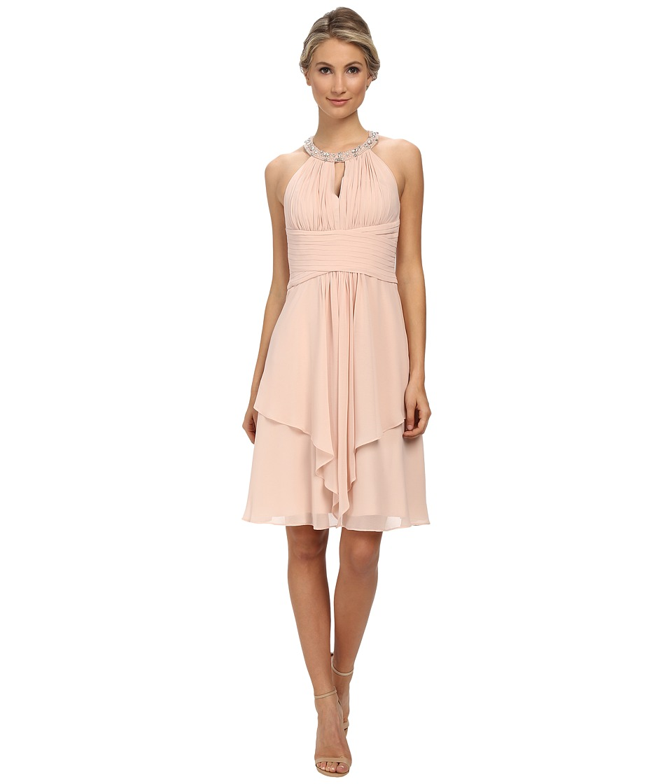 Donna Morgan - Sophie Short Beaded Neck Chiffon (Chantilly) Women's Dress