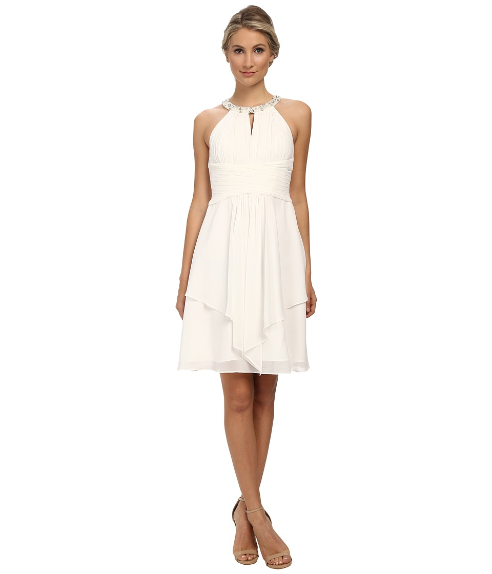 Donna Morgan Sophie Short Beaded Neck Chiffon White Lily Dress
