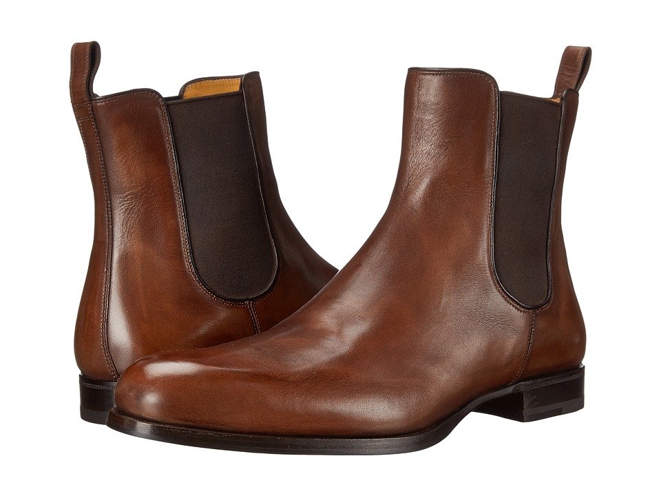 a. testoni - Delave Calf Chelsea Boot (Caramel) Men's Dress Boots