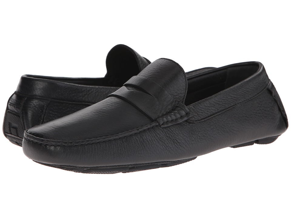 a. testoni - Deer Penny Loafer (Nero) Men's Slip-on Dress Shoes