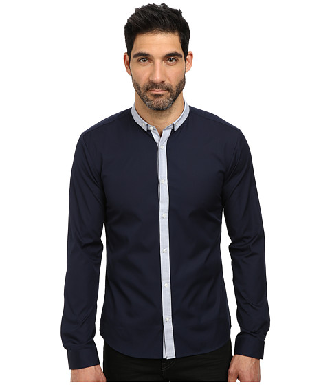 HUGO - Erren 10107897 01 (Dark Blue) Men's Long Sleeve Button Up