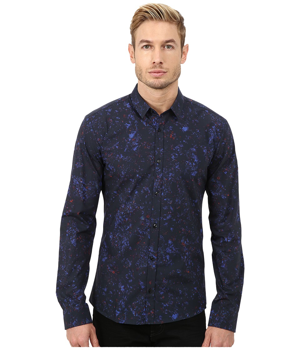 HUGO - Ero3 10180808 01 (Dark Blue) Men's Long Sleeve Button Up