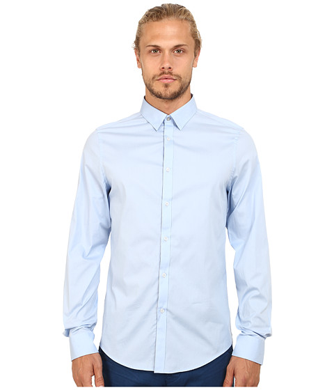 Ben Sherman - Long Sleeve Stretch Plain Woven MA11680 (Dusk Blue) Men's Clothing