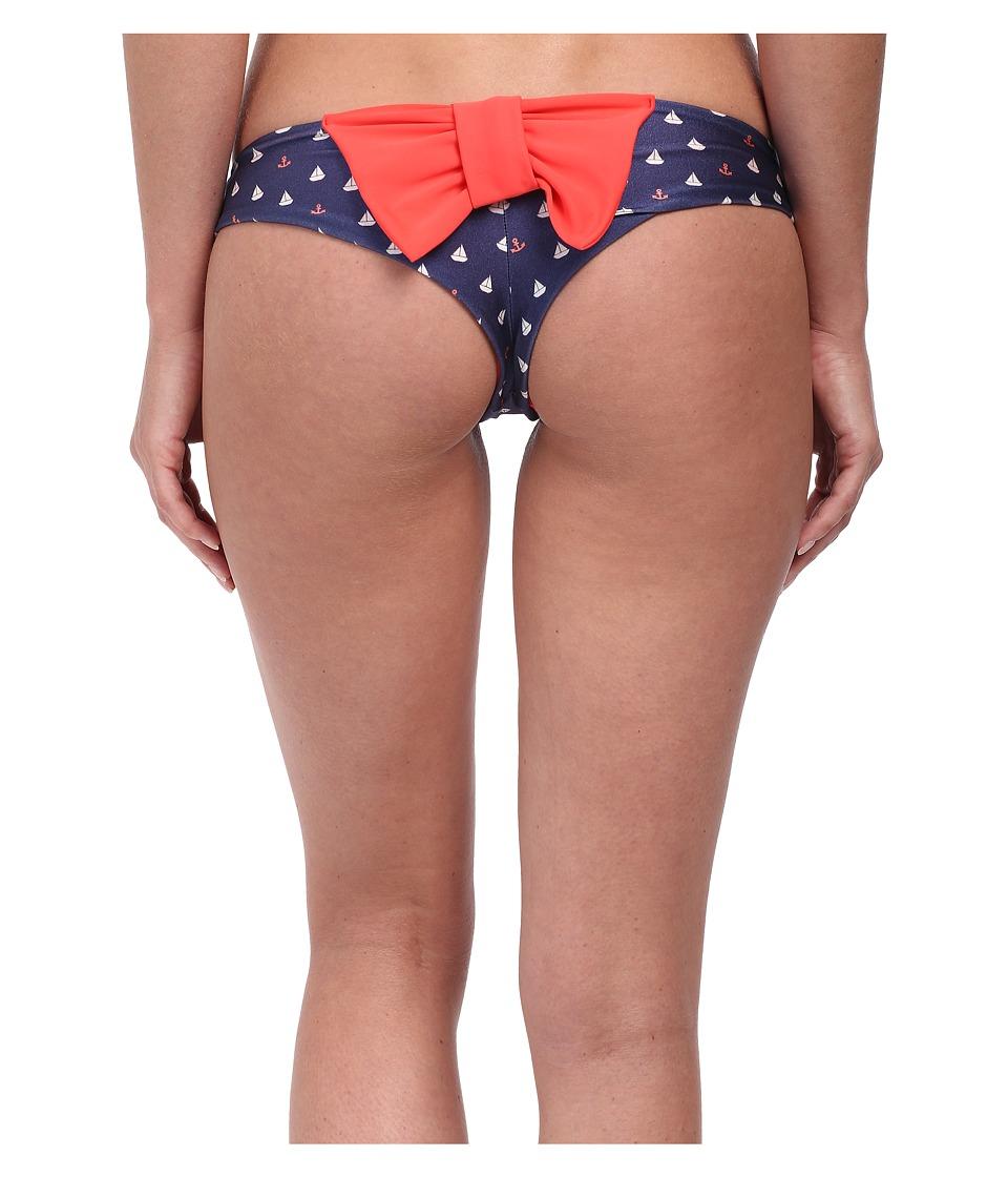 Lolli - Set Sail Bow Bottom (Dark Coral/Sailboats Bow) Women's Swimwear