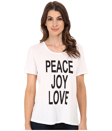 CJ by Cookie Johnson - Peace/Love/Joy Short Sleeve Tee (White) Women's T Shirt
