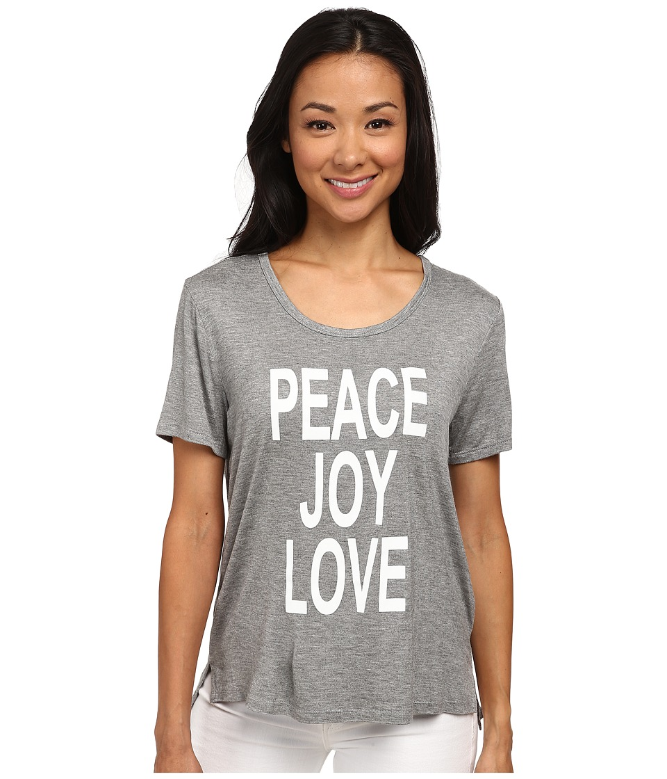 CJ by Cookie Johnson - Peace/Love/Joy Short Sleeve Tee (Heather Grey) Women's T Shirt