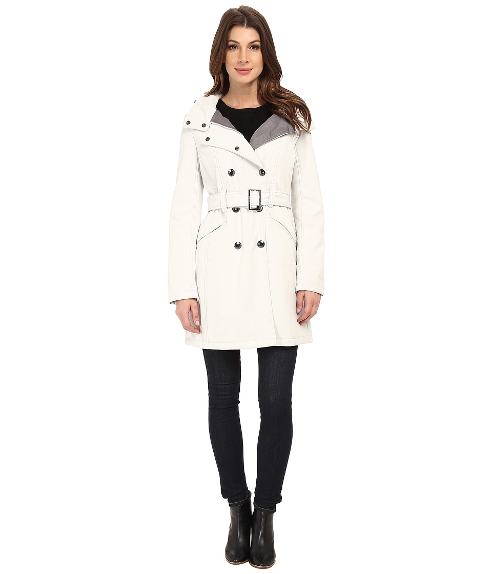 Calvin Klein - Double Breasted Coat w/ Rib Detail (Cement) Women's Coat