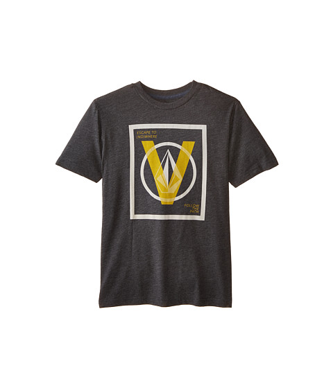 Volcom Kids - V Entry Short Sleeve Tee (Big Kids) (Heather Black) Boy's T Shirt