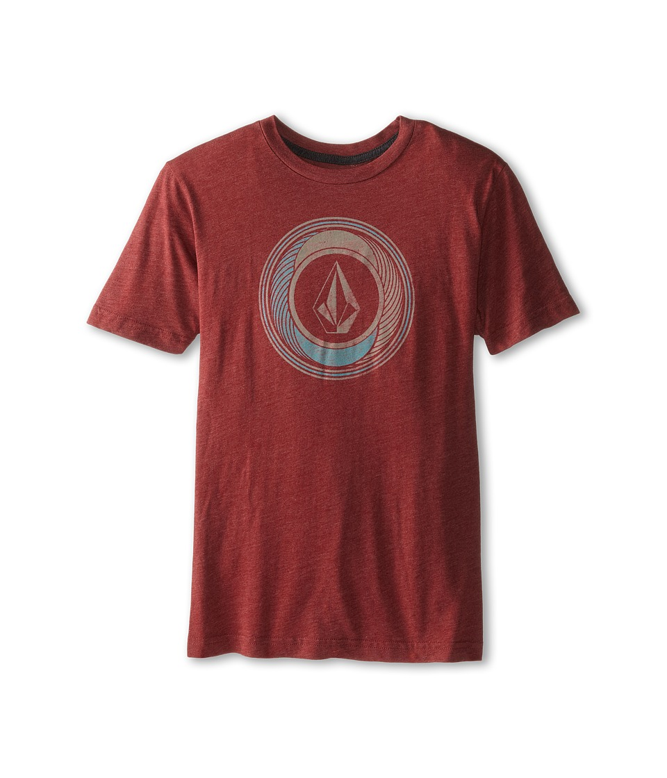 Volcom Kids - Sprinklers Stone Short Sleeve Tee (Big Kids) (Crimson) Boy's T Shirt