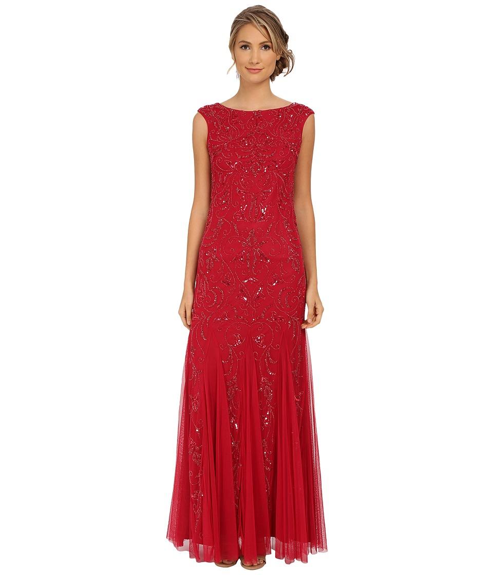 Adrianna Papell - Cap Sleeve Beaded Gown (Radish) Women's Dress