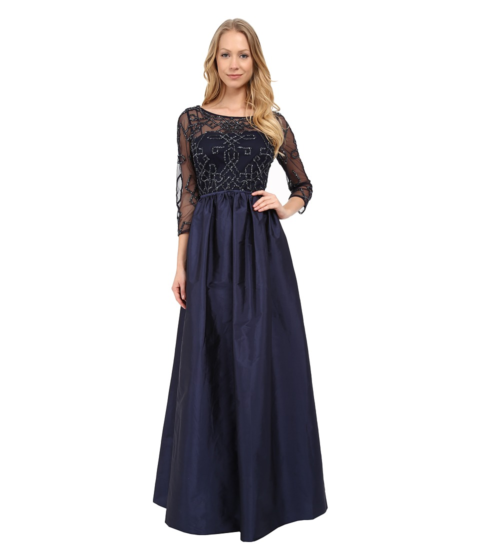 Adrianna Papell - 3/4 Sleeve Bead Bodice Taffeta Gown (Navy) Women's Dress