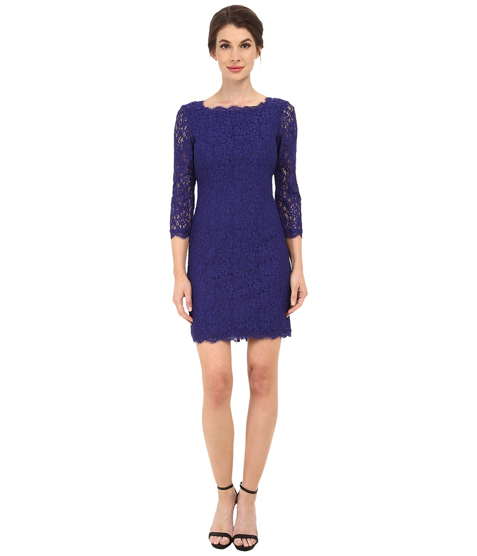 Adrianna Papell - L/S Lace Dress (Neptune) Women's Dress