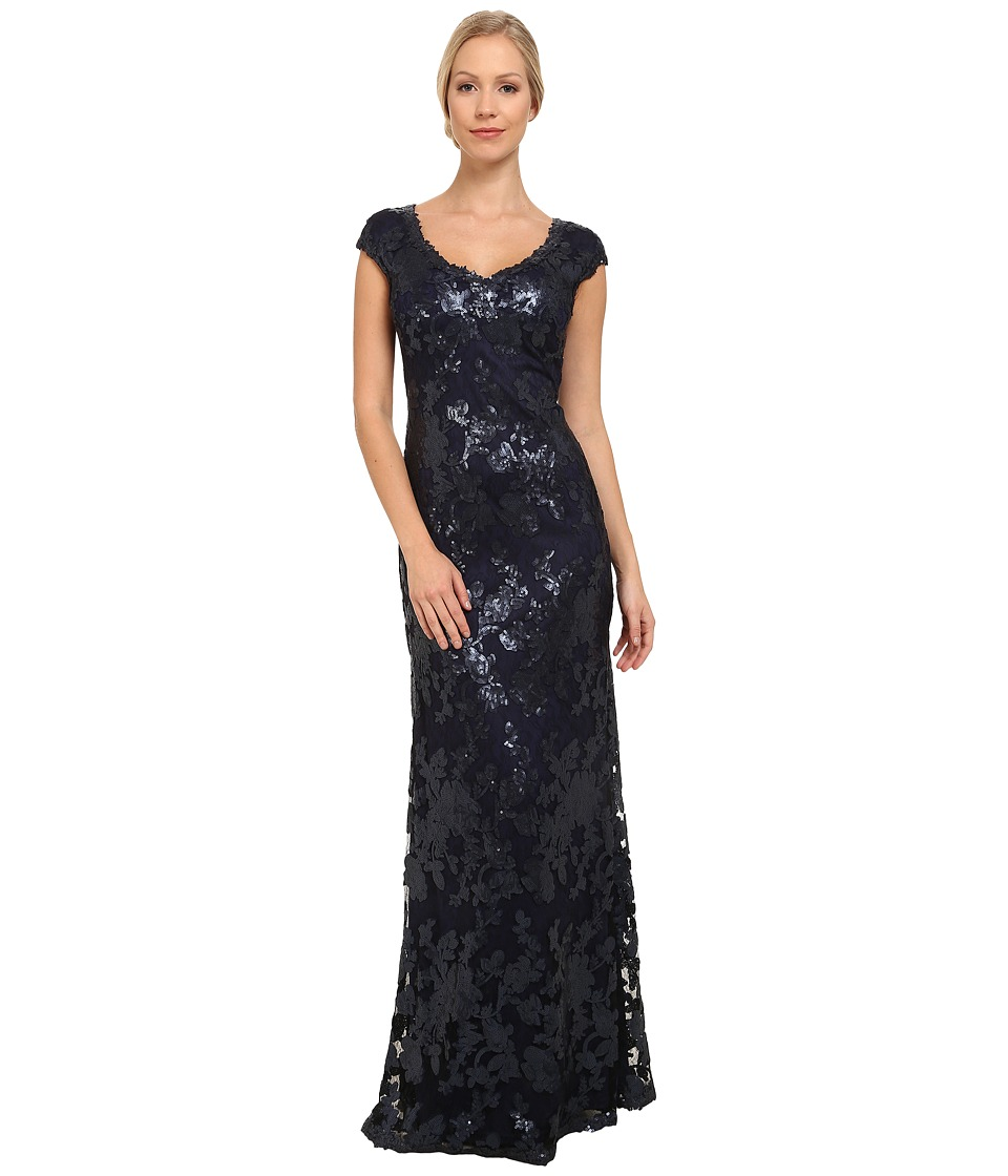 Adrianna Papell - Sequin Lace Cap Sleeve Gown (Navy) Women's Dress