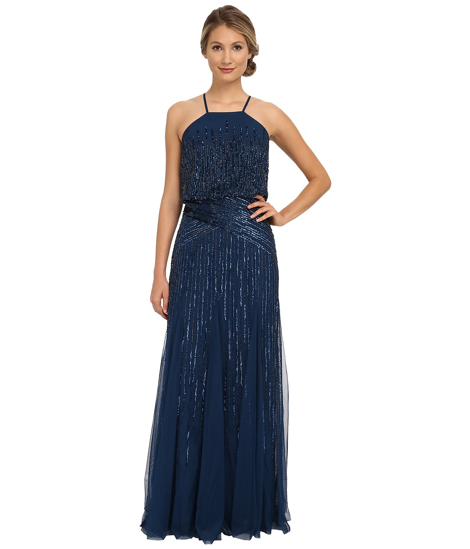 Adrianna Papell - Halter Fully Beaded Godet Gown (Deep Blue) Women's Dress
