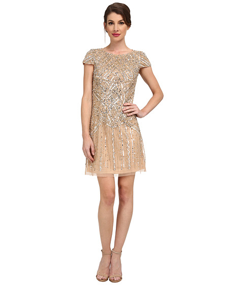 Adrianna Papell - Cap Sleeve Beaded Cocktail Dress (Cashmere) Women