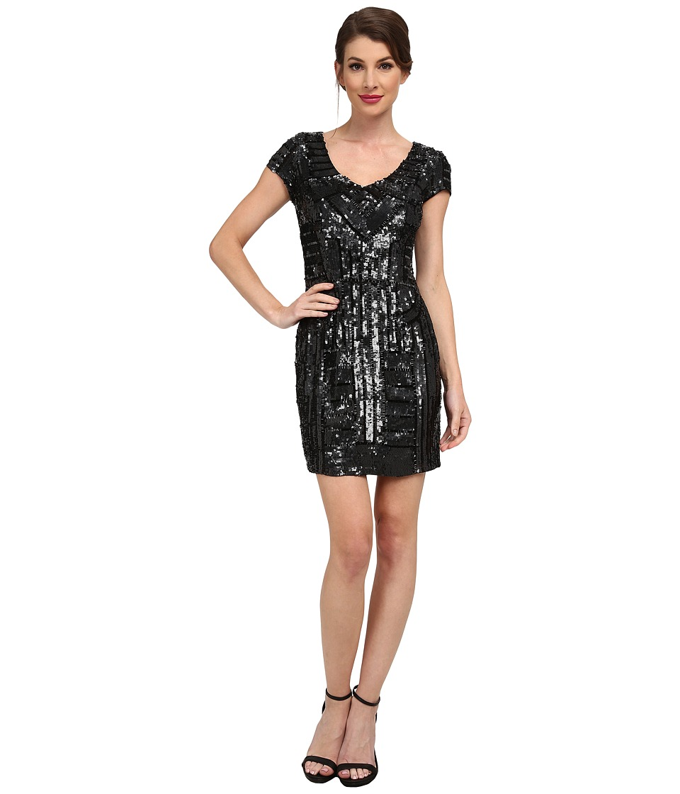 Adrianna Papell - Short Beaded Dress (Black) Women's Dress