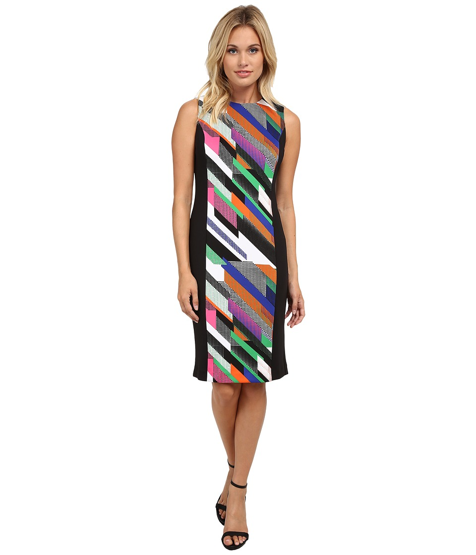 Calvin Klein - Print Blocked Scuba Sheath (Fern Combo) Women's Dress