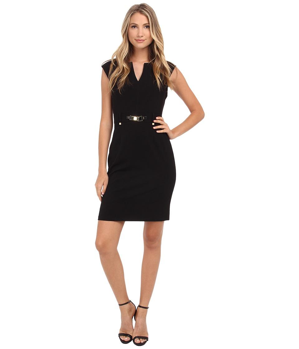 Calvin Klein - Shift Dress w/ Gold Hardware (Black) Women's Dress