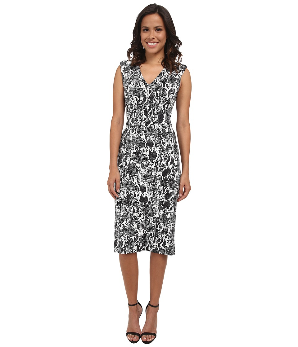 Calvin Klein - Printed Compression Midi Sheath (Black/White Multi) Women's Dress