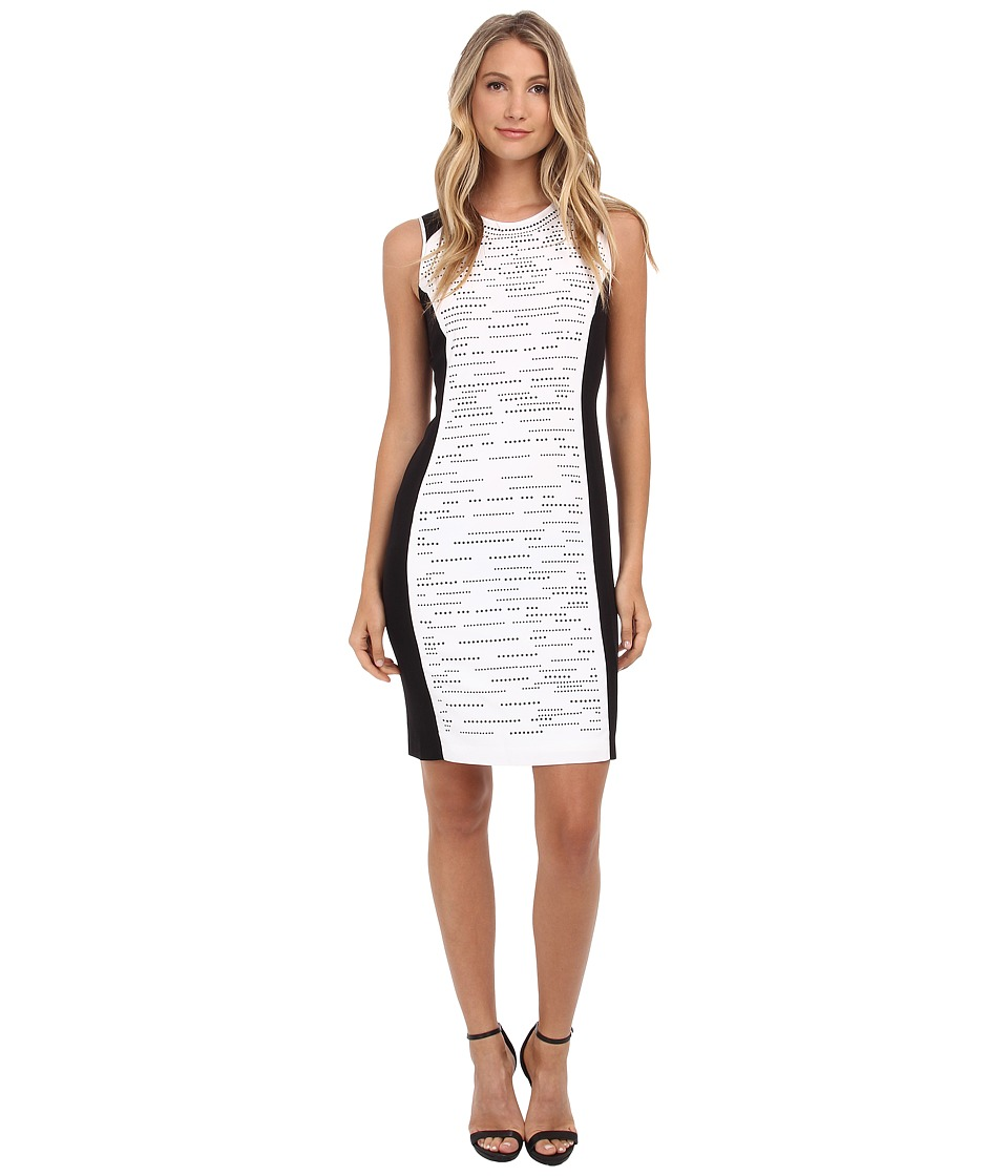 Calvin Klein - Blocked Dress w/ Matte Stud Layout (Soft White) Women's Dress