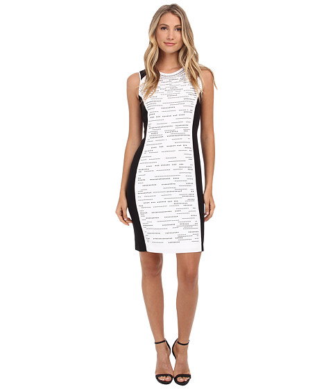 Calvin Klein - Blocked Dress w/ Matte Stud Layout (Soft White) Women