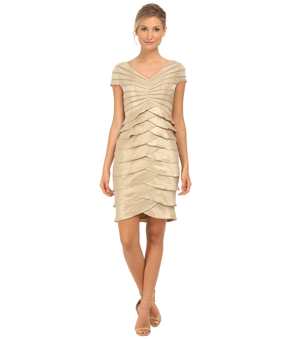 Adrianna Papell - Cap Sleeve Shimmer Cocktail Dress (Champagne) Women's Dress