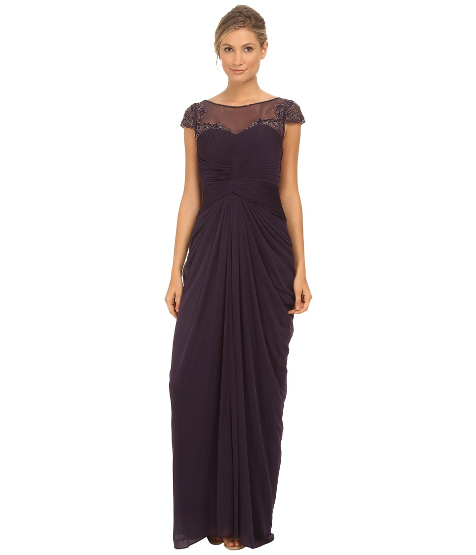 Adrianna Papell - Tulle Beaded Draped Gown (Prune) Women's Dress