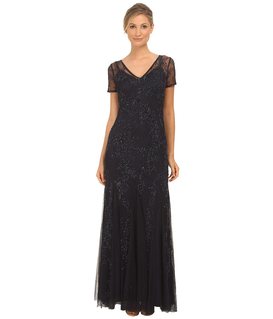 Adrianna Papell - Fully Beaded Gowns with Godets (Navy) Women's Dress
