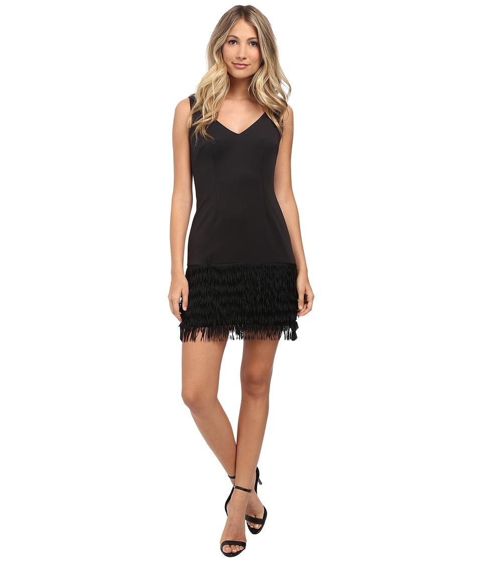 Adrianna Papell - Ponte and Shift Fringe Dress (Black) Women's Dress