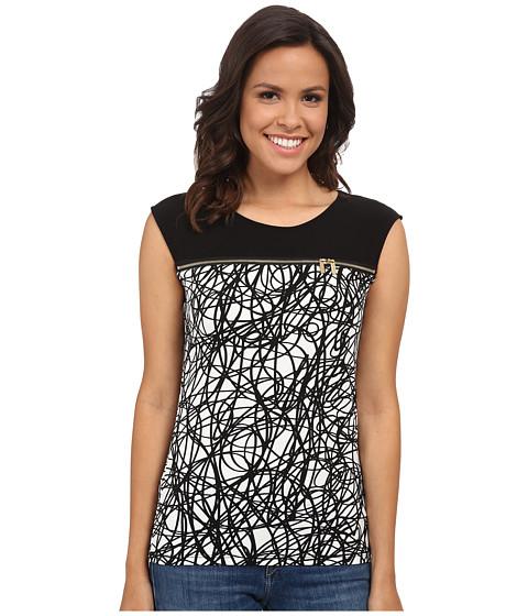 Calvin Klein - Sleeveless Top w/ Horizontal Zips (String) Women's Sleeveless