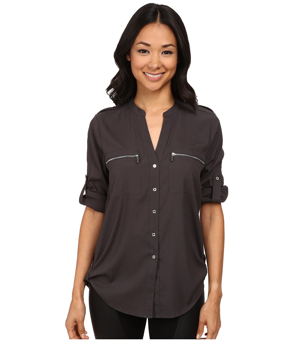 Calvin Klein - Zipper Roll Poly CDC Sleeve (Charcoal) Women's Blouse