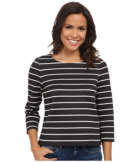 Calvin Klein - Long Sleeve Striped Top (Black/White Combo) Women's Clothing