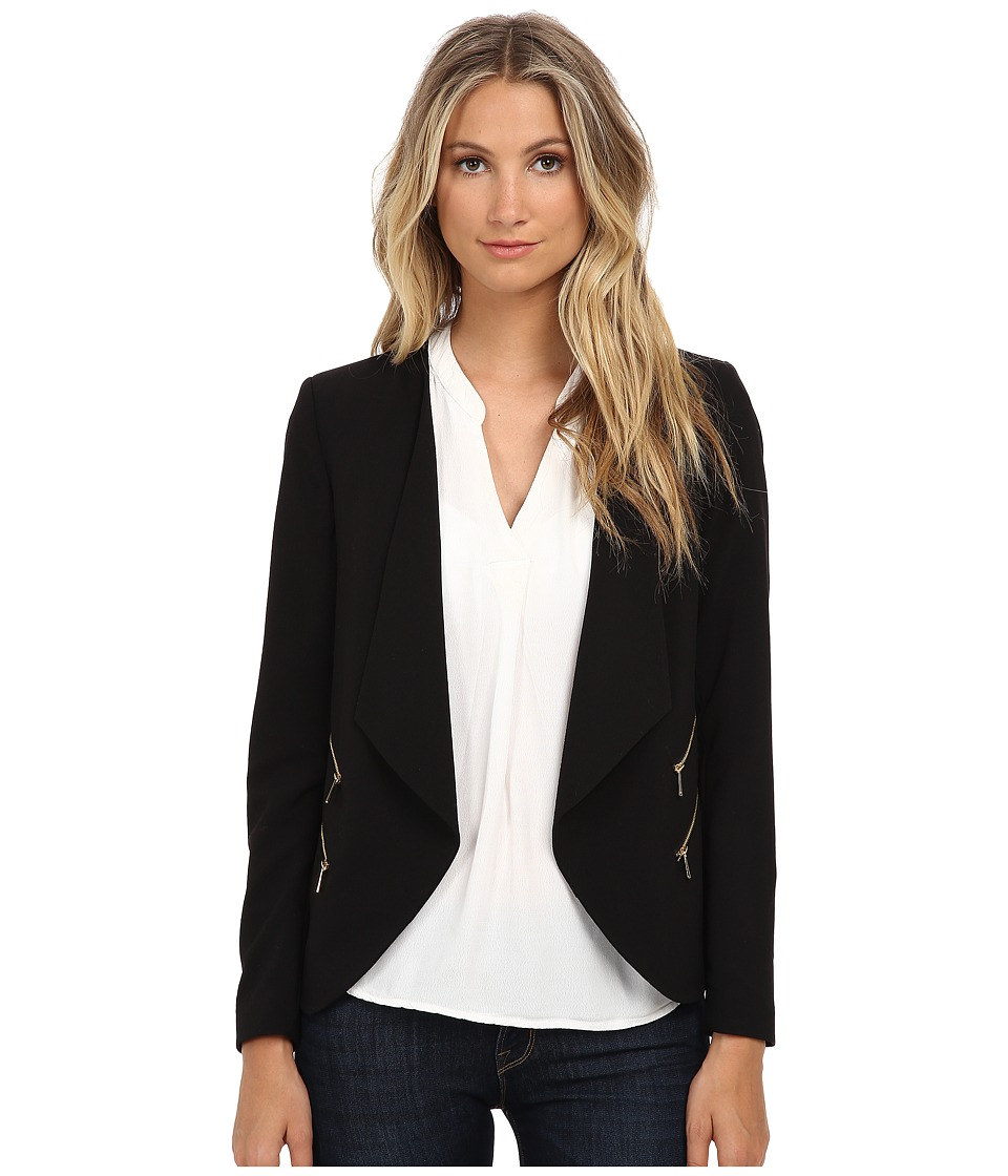 Calvin Klein - Open Jacket w/ 4 Zips (Black) Women's Coat