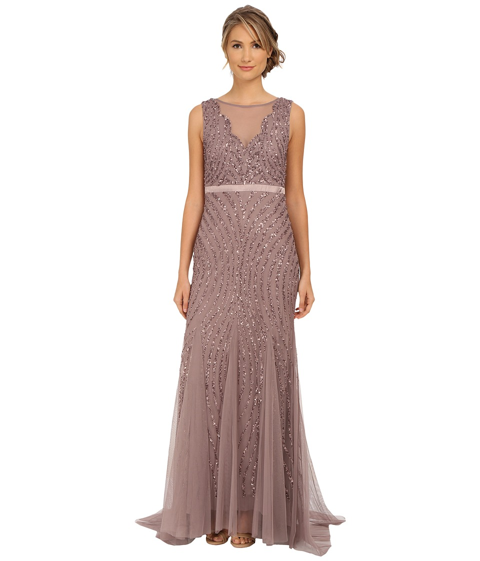 Adrianna Papell - Beaded Mermaid Gown (Stone) Women's Dress