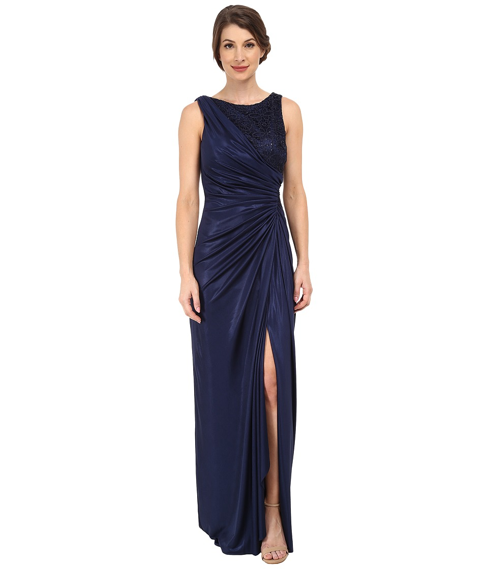 Adrianna Papell - Lace Jersey Gown (Navy) Women's Dress