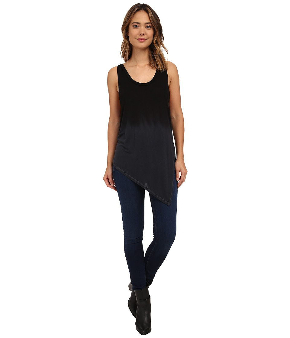 LNA - Slant Tank Top (Black Ombre Dye) Women's Sleeveless