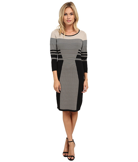 Calvin Klein - Long Sleeve Mixed Stripe Sweater Dress (Black/Latte Combo) Women