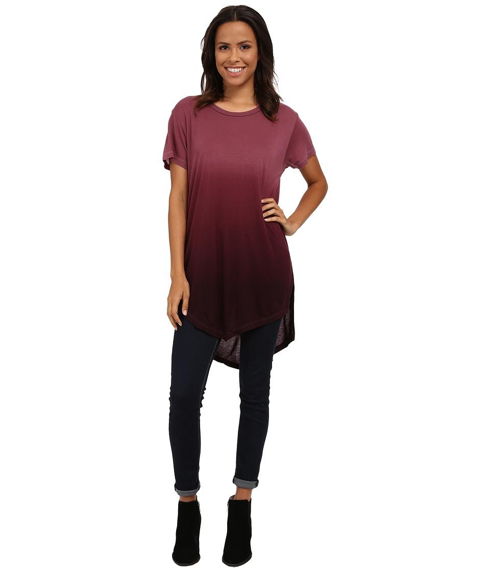 LNA - V Ombre Tunic (Burgundy Ombre Dye) Women's Long Sleeve Pullover