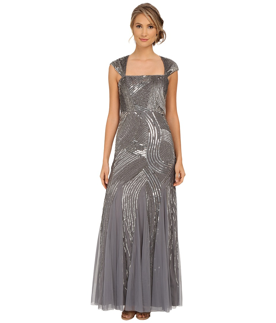 Adrianna Papell Cap Sleeve Fully Beaded Gown Sterling Dress