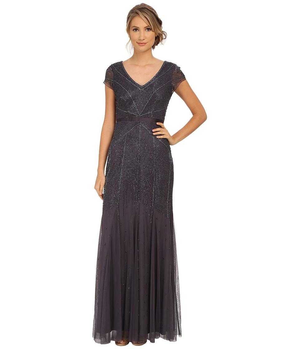 Adrianna Papell - Beaded Cap Sleeve Gown (Gunmetal) Women's Dress