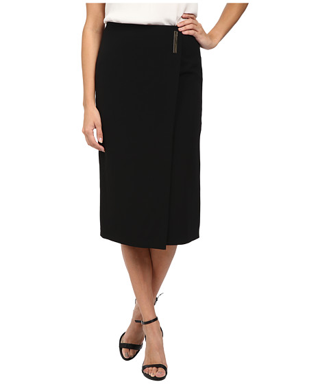 Calvin Klein - Midi Pencil Skirt w/ Bar Snape (Black) Women