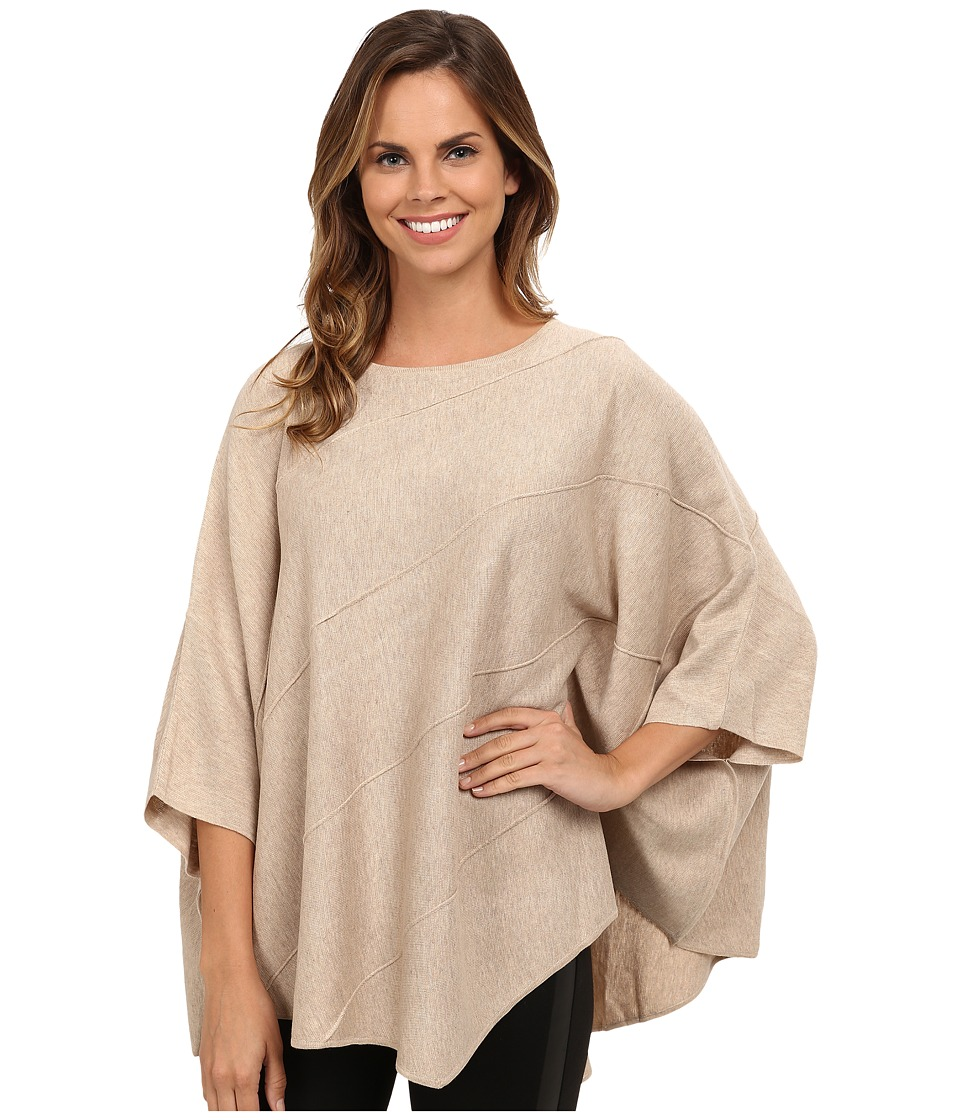 Calvin Klein - Diagonal Seam Cape (Heather Latte) Women's Sweater