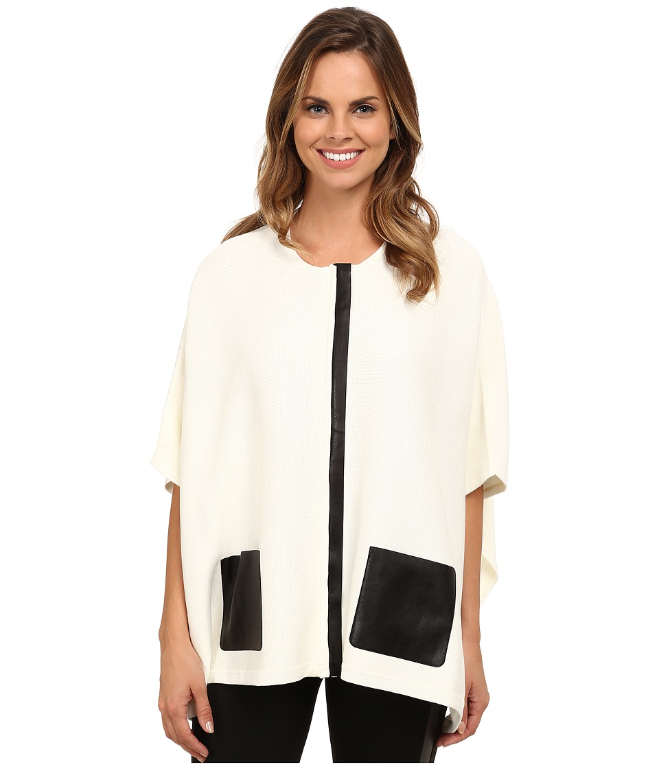 Calvin Klein - Sweater Cape with Faux Leather Pocket (Soft White) Women's Sweater