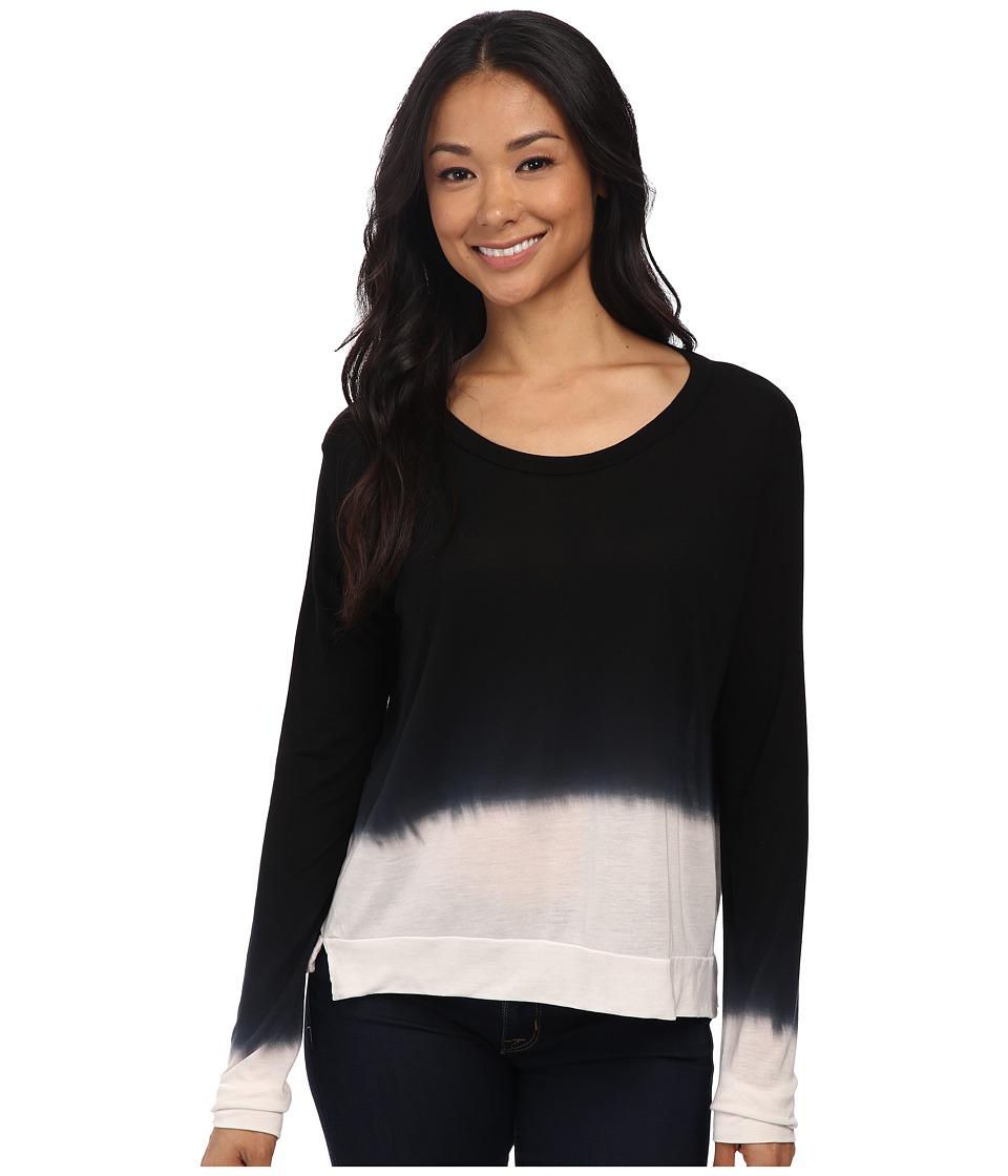 LNA - Cropped Long Sleeve (Black/White Dye) Women's Long Sleeve Pullover