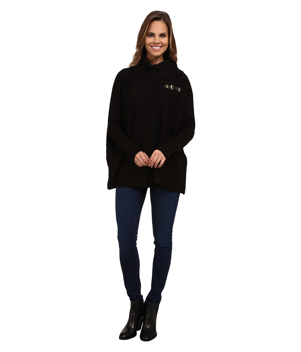 Calvin Klein - Sweater Cape w/ Buckle (Black) Women's Sweater