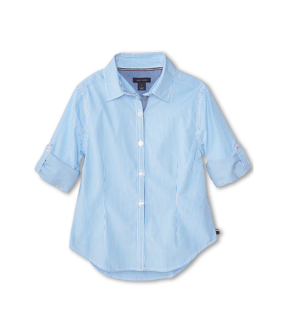 Tommy Hilfiger Kids - Tommy Stripe Shirt (Little Kids) (Azure Blue) Girl's Clothing