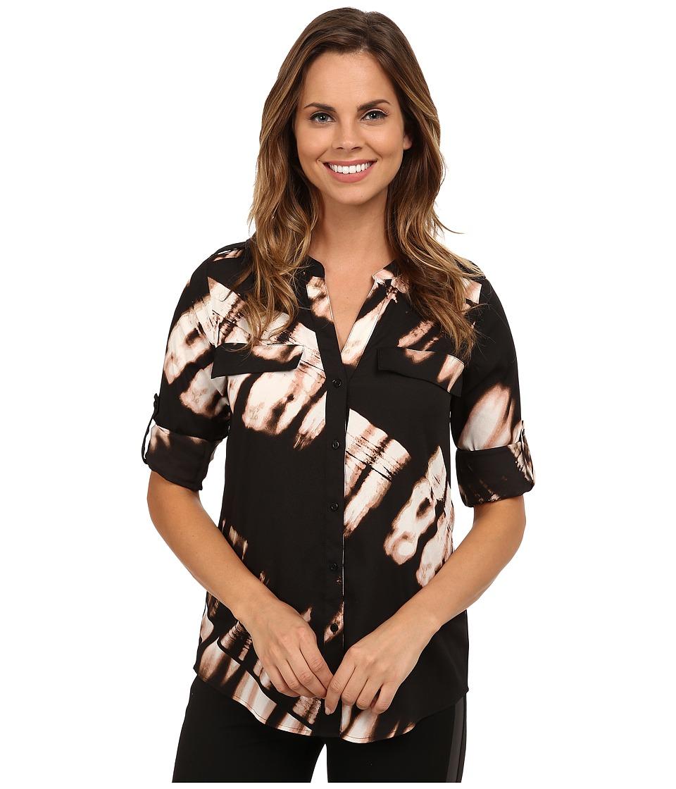 Calvin Klein - Print Crew Neck Roll Sleeve (Black/Blush Multi) Women's Blouse